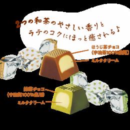 Japoniški matcha latte šokoladukai